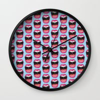 mouth Wall Clocks featuring MOUTH BREATHER by Matthew Taylor Wilson
