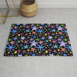 Rainbow Watercolor Starfish Pattern Rug