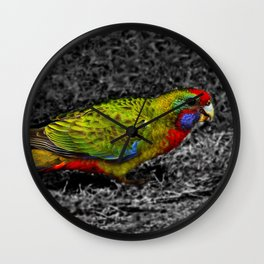 Green Rosella on Black and White Wall Clock
