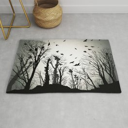 crows roost at twilight Rug