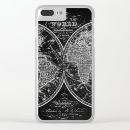 Black and White World Map (1842) Inverse Clear iPhone Case