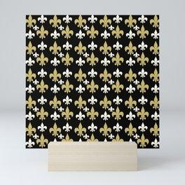 Fleur de lis..gold,black and white Mini Art Print