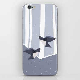 Elegant Origami Birds Abstract Winter Design iPhone Skin