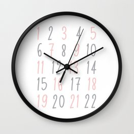 Numbers - Pink Wall Clock