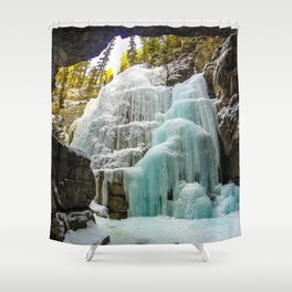 In the depths of Maligne Canyon looking up - Canada Shower Curtain