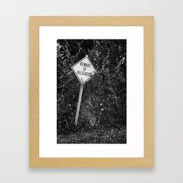 Beware Of Alligator Framed Art Print