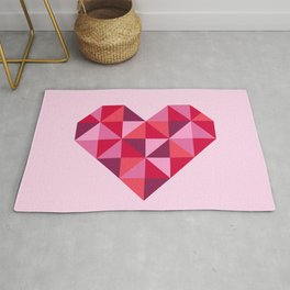 Retro pink disco heart art work Rug