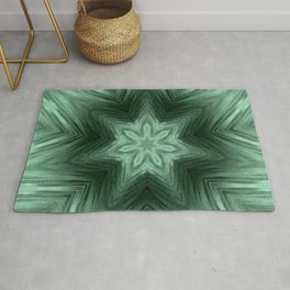 Green Star Flower Blossom Metallic Color #Pattern #Background Rug