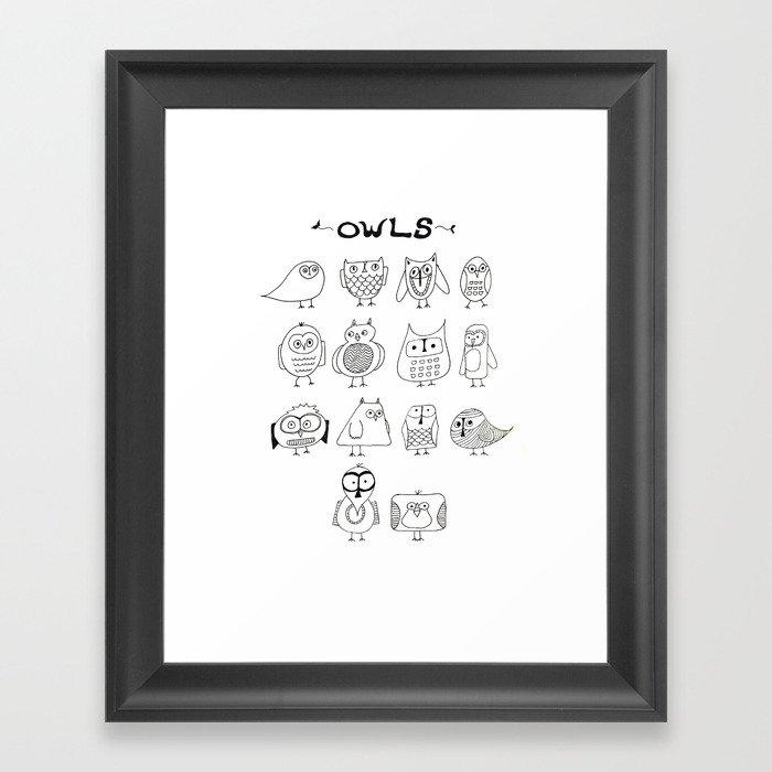 Cute Little Owls Gerahmter Kunstdruck