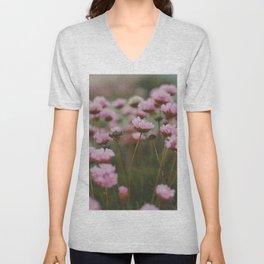 Pale Pink Flowers Unisex V-Neck