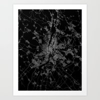 budapest Art Prints featuring Budapest by Line Line Lines
