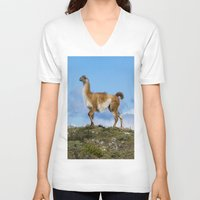 chile V-neck T-shirts featuring A Guanoco, in Patagonia, Chile. by davehare