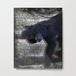 Wildlife Series Black Bear By Moon Willow Designs Metal Print
