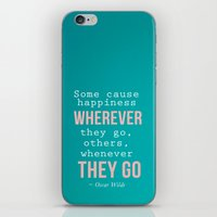 oscar wilde iPhone & iPod Skins featuring Quote By Oscar Wilde by Jenny Ardell