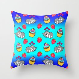 Cute happy sleeping dreaming Kawaii baby raccoon, sweet red summer strawberries and colorful rainbow yummy cupcakes sunny bright blue and navy design. Nursery decor. Throw Pillow