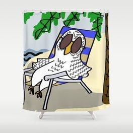 Beach Owl Shower Curtain