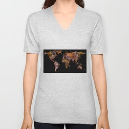 World Map Silhouette - Eel Photographic Mandala Unisex V-Neck