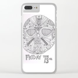 Hockey Mask Doodle Clear iPhone Case