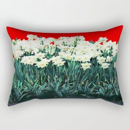 Red Whites Daffodils/Narcisus Spring Blue-Green Garden Rectangular Pillow
