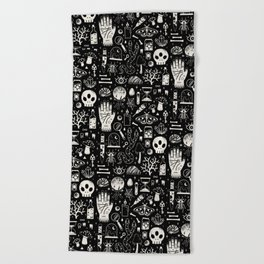 Curiosities: Bone Black Beach Towel