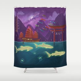 Junk Ship and Glow Sharks Shower Curtain