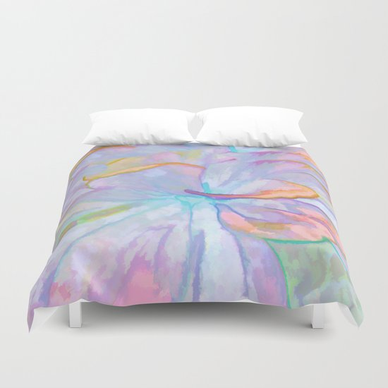 Soft Pastel Painted Petals Abstract Duvet Cover
