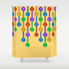 Colorful jewel stones in jewel tones yellow Shower Curtain