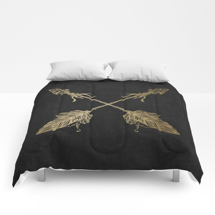 Gold Arrows on Black Comforters