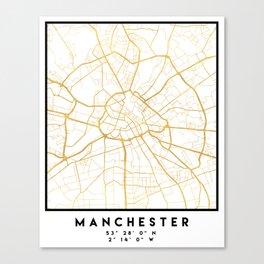 MANCHESTER ENGLAND CITY STREET MAP ART Canvas Print