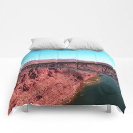 bridge over the river in the desert with blue sky in USA Comforters
