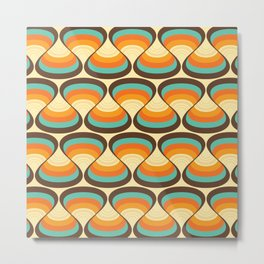Wavy Turquoise Orange and Brown Retro Lines Metal Print