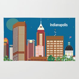 Indianapolis, Indiana - Skyline Illustration by Loose Petals Rug