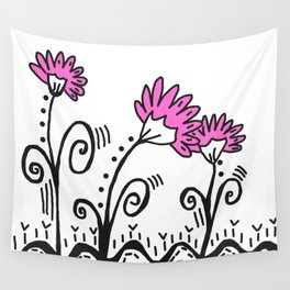 Three Spring Flowers - Pink Wall Tapestry