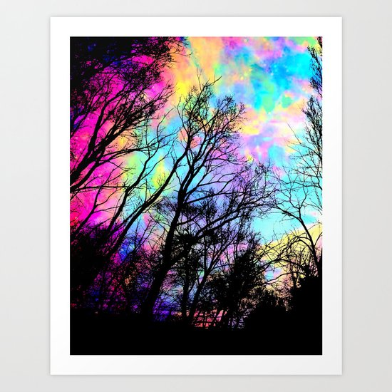 Black Trees Colorful space. Art Print