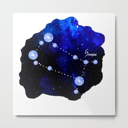 Gemini Constellation in Sapphire - Star Signs and Birth Stones Metal Print