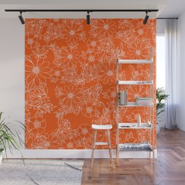 Hand drawn white bright orange modern floral Wall Mural