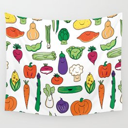 Cute Smiling Happy Veggies on white background Wall Tapestry