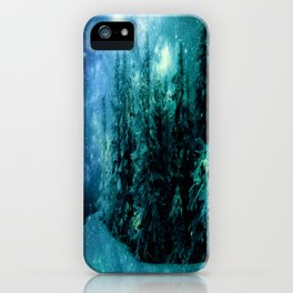 Galaxy Winter Forest Blue Teal iPhone Case