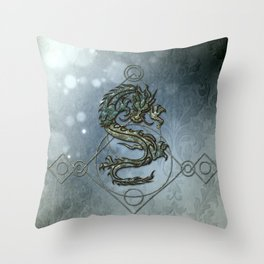 Asia dragon on vintage background Throw Pillow