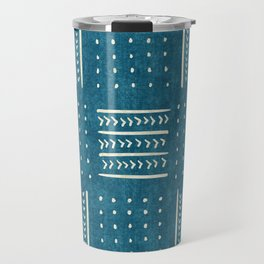 Mud Cloth Patchwork in Teal Travel Mug