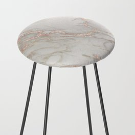 Marble Rose Gold Blush Pink Metallic by Nature Magick Counter Stool
