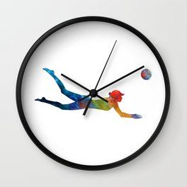 Woman beach volley ball player 01 in watercolor Wall Clock