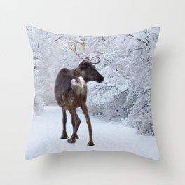 Reindeer and Snow Throw Pillow