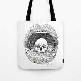 skull in lips Tote Bag