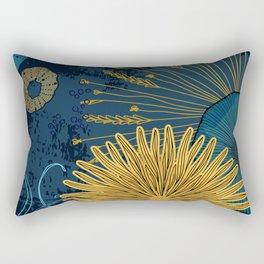 Navy floral background Rectangular Pillow