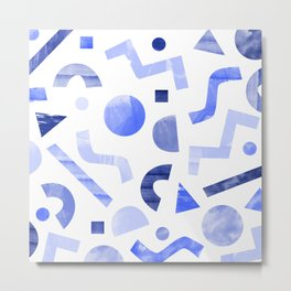 Memphis watercolor blue abstract pattern Metal Print