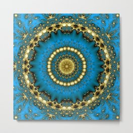 Golden Blue Star Metal Print