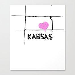 Love Kansas State Sketch USA Art Design Canvas Print
