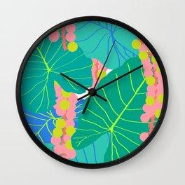 Elephant Ear Leaves + Sea Grapes Wall Clock