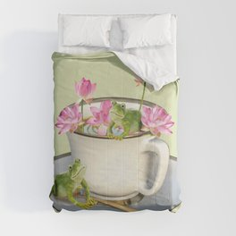 Cup with Lotos Flowers and two Frogs Comforters